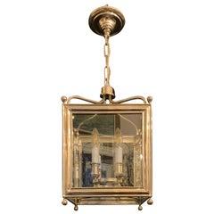 Wonderful Vaughan Designs Regency Square Polished Nickel Glass Lantern Fixture