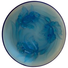 Wonderful Verlys Blue Art Glass Orchid Flowers Centerpiece Platter Bowl