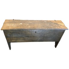 Wonderful Very Early Narrow Rustic British Wooden Coffer Trunk Coffee Table