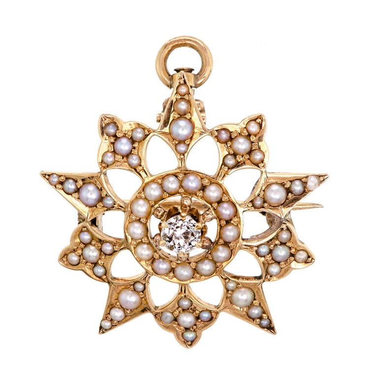 Wonderful Victorian Diamond & Pearl Petitie Yellow Gold Starburst Brooch/Pendant