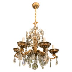 Wonderful Vintage French Crystal Beaded Baguès Rock Crystal Gold Gilt Chandelier