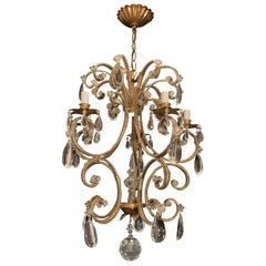 Wonderful Vintage Gold Gilt Beaded Crystal Bagues Chandelier 5-Light Fixture