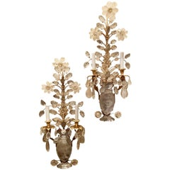 Wonderful Vintage Gold Gilt Rock Crystal 2 Light Baguès Urn Flower Sconces, Pair