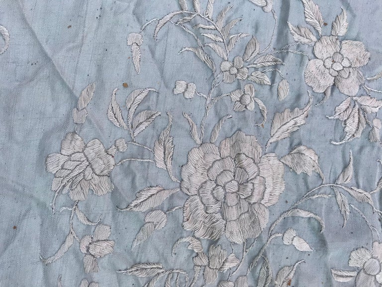 Wonderful Vintage Manila Shawl, Long Scarf Chinese Embroidery For Sale 4