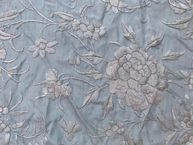 Silk Wonderful Vintage Manila Shawl, Long Scarf Chinese Embroidery For Sale