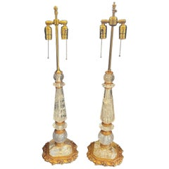 Wonderful Vintage Pair of French Rock Crystal Bronze Ormolu Mounted Nesle Lamps