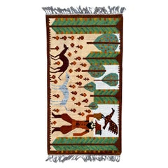 Wonderful Vintage Polish Flat Rug Tapestry