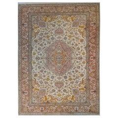 Wonderful Vintage Silk and Wool Tabriz Rug
