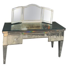 Wonderful Vintage Venetian Antique Etched Mirrored Trifold Mirror Vanity Desk