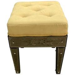Wonderful Pair Vintage Venetian Etched Mirrored Italian Upholstered Stool Bench