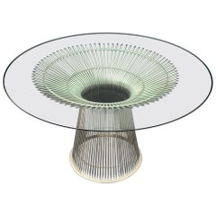 Wonderful Warren Platner for Knoll Wire Form Nickel Glass Top Round Dining Table
