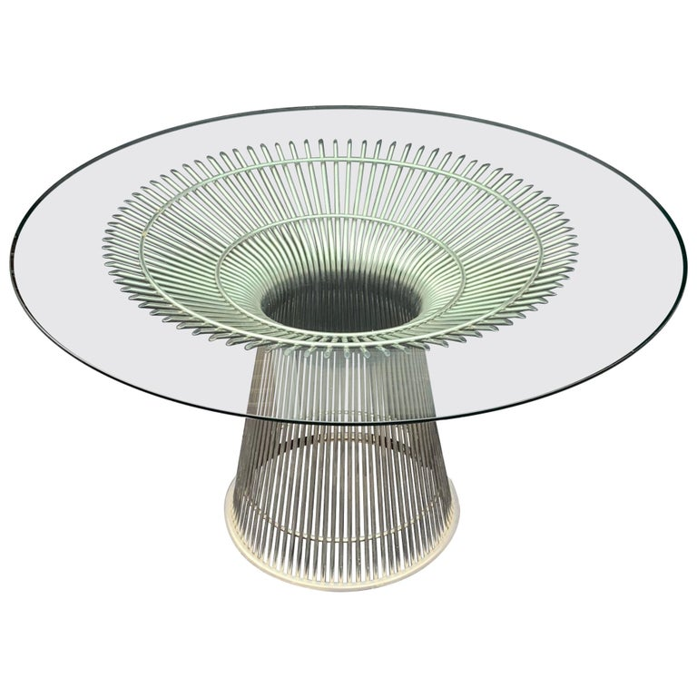 Wonderful Warren Platner for Knoll Wire Form Nickel Glass Top Round Dining Table For Sale