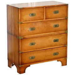 Wonderful Yew Wood Vintage Military Campaign Chest of Drawers Two Piece Set