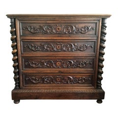 Wonderfully Carved French Barley Twist Renaissance Style Chest of Drawers