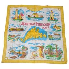 "Wonderfully Detailed Scenes of ""Martha Vineyard"" Silk Blend Scarf"