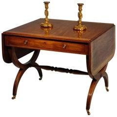 Wonderfully Faded Figured Mahogany and Satinwood Sofa Table, circa 1815