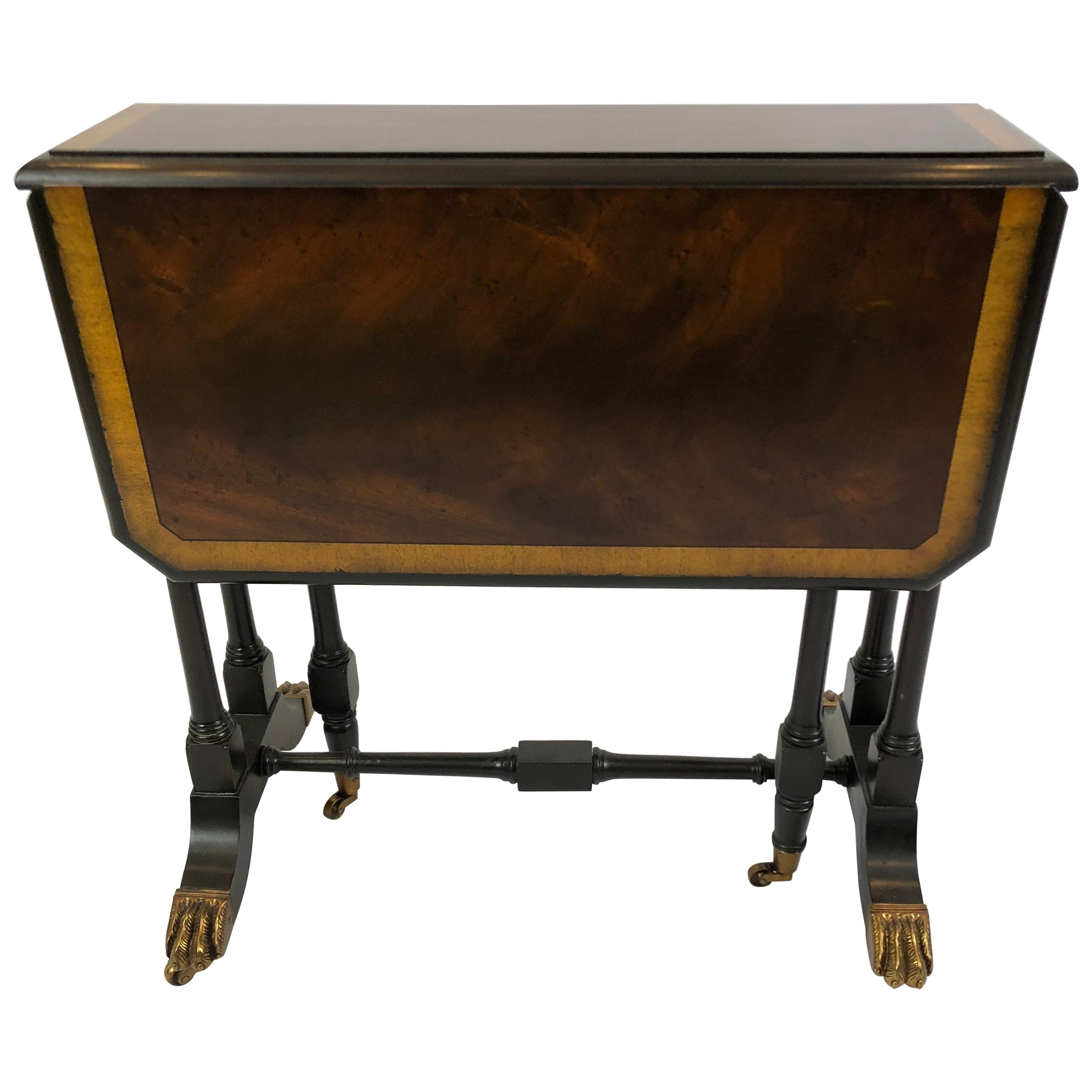 Wonderfully Versatile Maitland Smith Drop-Leaf Flame Mahogany Side or End Table