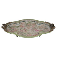Wong Lee Porcelain & Bronze Neoclassical Floral Footed Oval Platter Tray