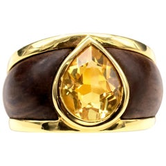 Wood 18 Karat Gold Citrine Modern Band Ring