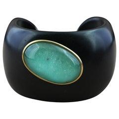 Wood 18 Karat Gold Oval Hand Carved Chrysoprase Rock Crystal Cuff Bracelet