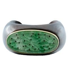 Wood 18 Karat Yellow Gold Oval Hand-Carved Jade Cuff Bracelet