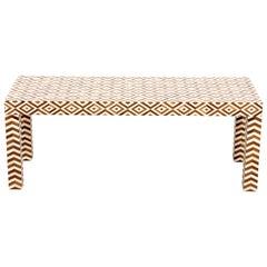 Wood and Bone Diamond Design Coffee Table