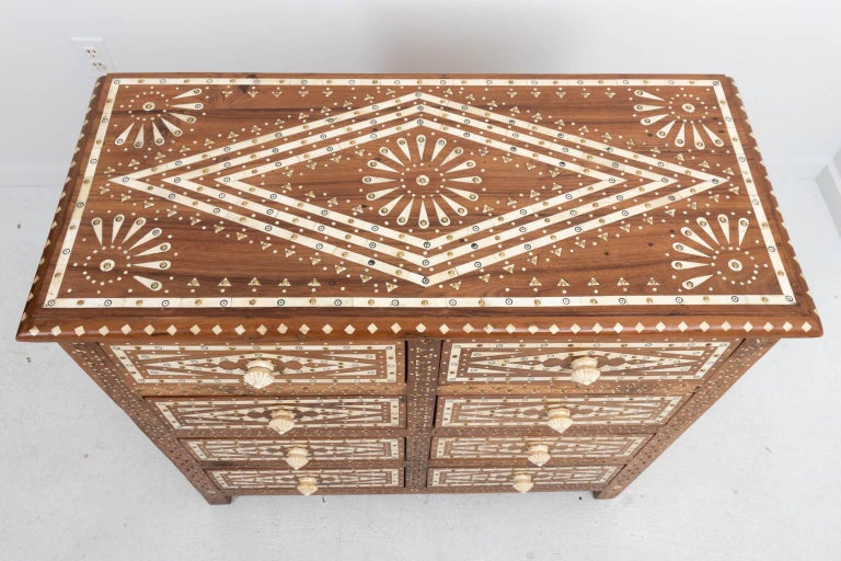 Wood and Bone Inlaid Chest of Drawers For Sale 5