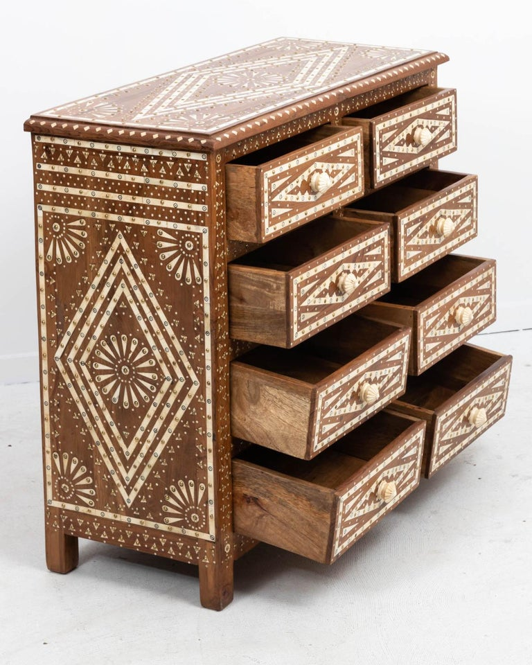 Inlay Wood and Bone Inlaid Chest of Drawers For Sale