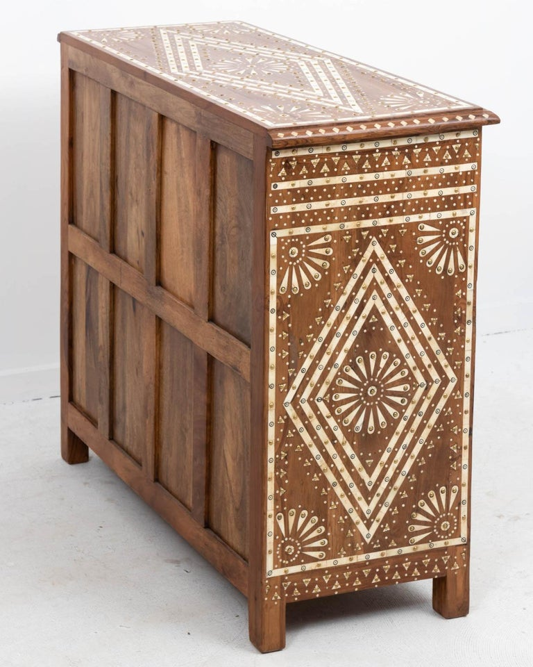20th Century Wood and Bone Inlaid Chest of Drawers For Sale