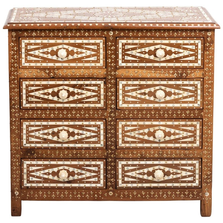 Wood and Bone Inlaid Chest of Drawers For Sale