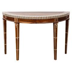 Wood and Bone Inlaid Demilune Console Table