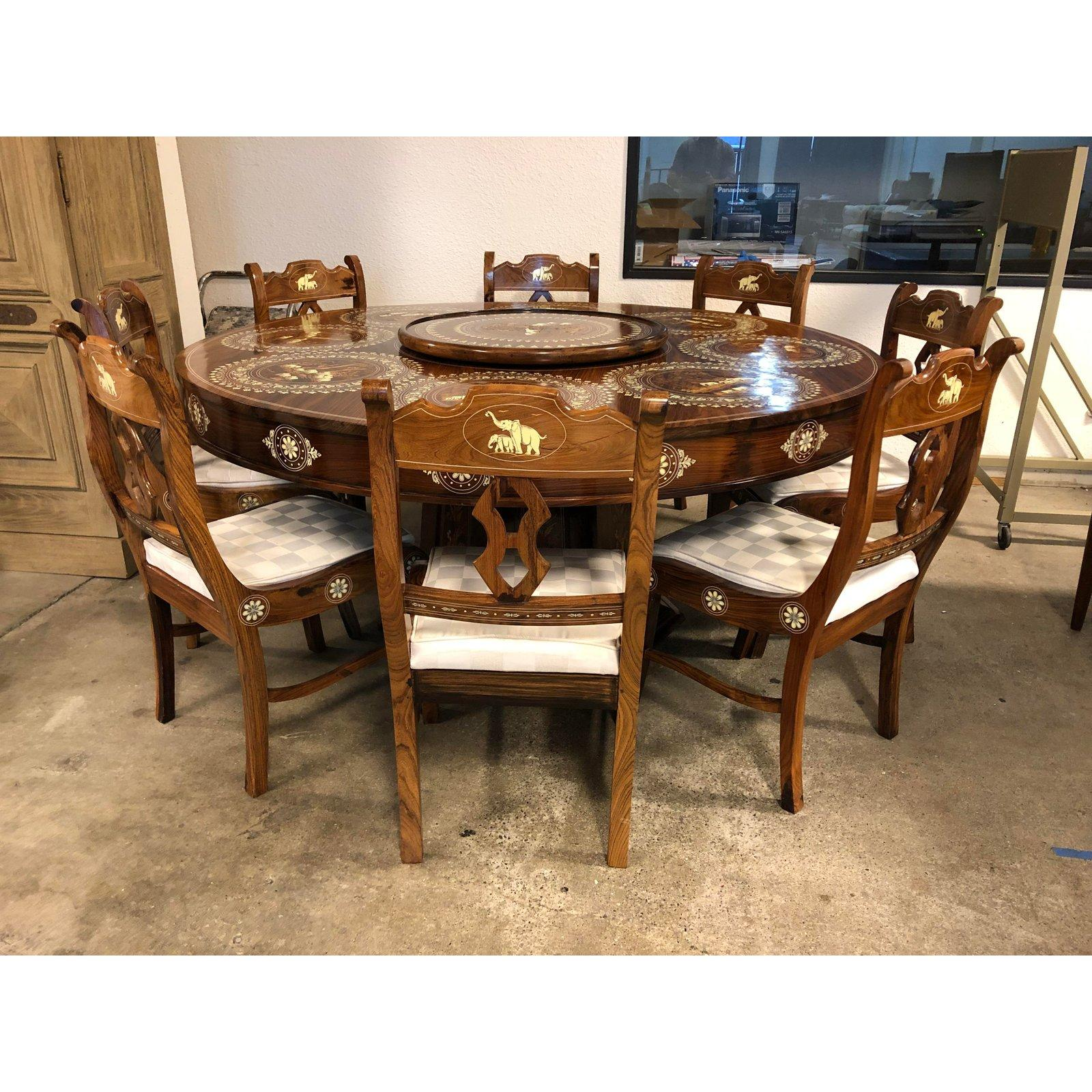Wood And Bone Inlaid Dining Table And Eight Chairs From India