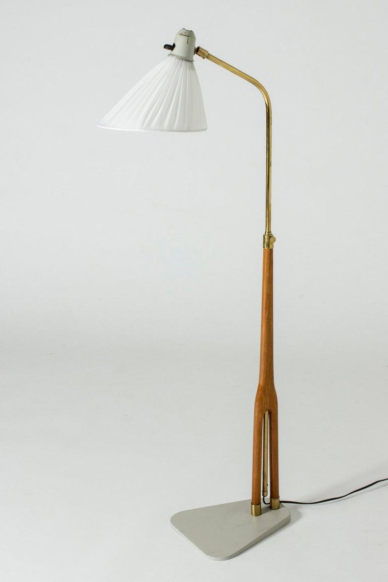 Scandinavian Modern Wood and Brass Floor Lamp from Asea, Sweden For Sale