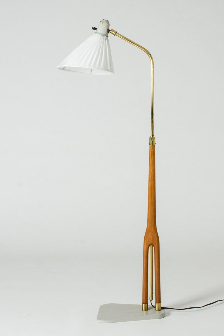 Swedish Wood and Brass Floor Lamp from Asea, Sweden For Sale