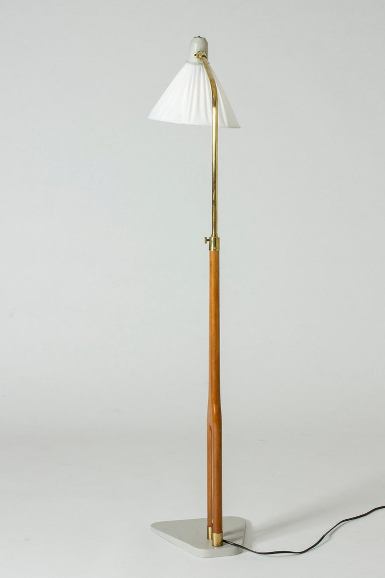 Lacquered Wood and Brass Floor Lamp from Asea, Sweden For Sale