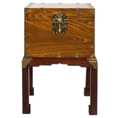 Wood and Brass Japanese Trunk