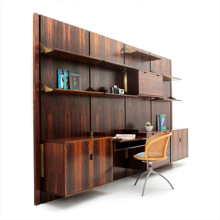 Wood and Brass Modular Italian Wall Unit by Marco Comolli for Mobilia, 1960s For Sale 8