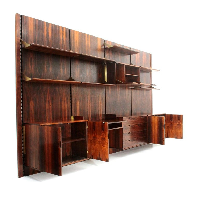 Mid-Century Modern Wood and Brass Modular Italian Wall Unit by Marco Comolli for Mobilia, 1960s For Sale