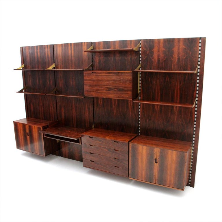 Wood and Brass Modular Italian Wall Unit by Marco Comolli for Mobilia, 1960s In Good Condition For Sale In Savona, IT