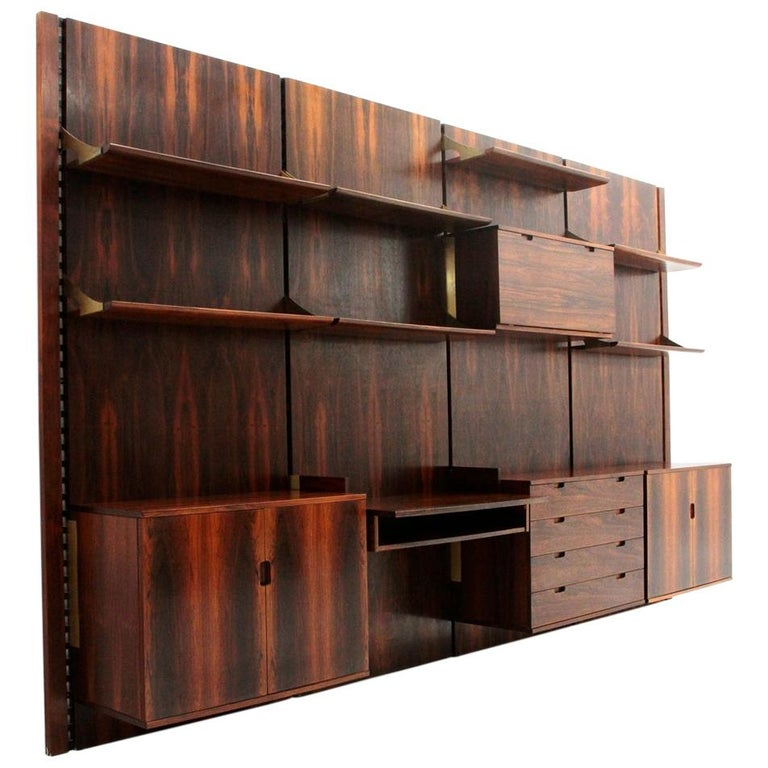 Wood and Brass Modular Italian Wall Unit by Marco Comolli for Mobilia, 1960s For Sale