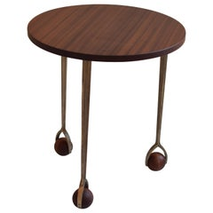 Wood and Bronze Snack and Side Table, It Spins