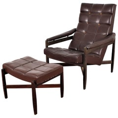 Wood and Brown Leather Minotti Lounge Chair and Ottoman, Italy, 1960s