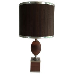 Wood and Brushed Steel Egg Lamp with Wooden Shade, circa 1970