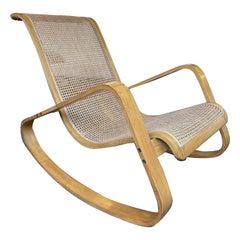 Wood and Cane Rocking Chair Dondolo by Luigi Crassevig, Italy, 1970s