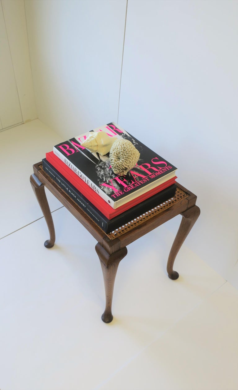 Wicker Cane and Wood Side or End Table For Sale 4