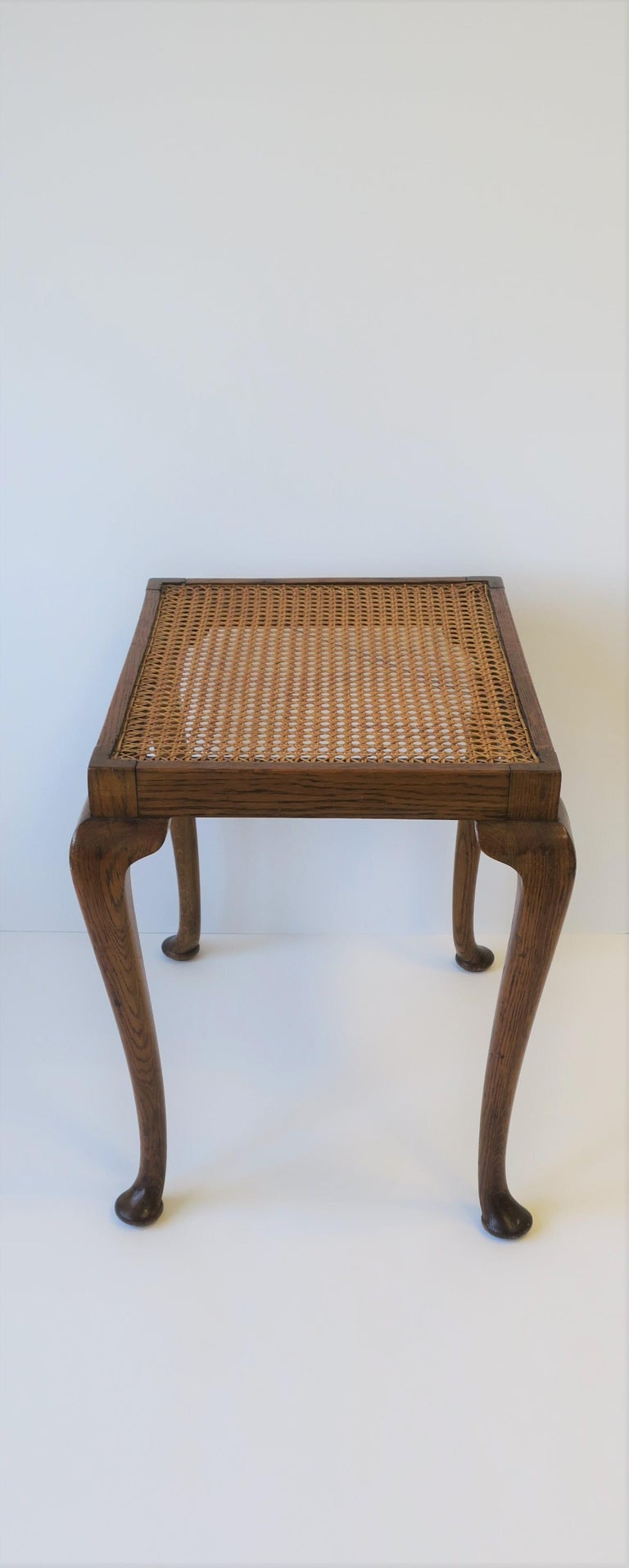 Wicker Cane and Wood Side or End Table For Sale 7