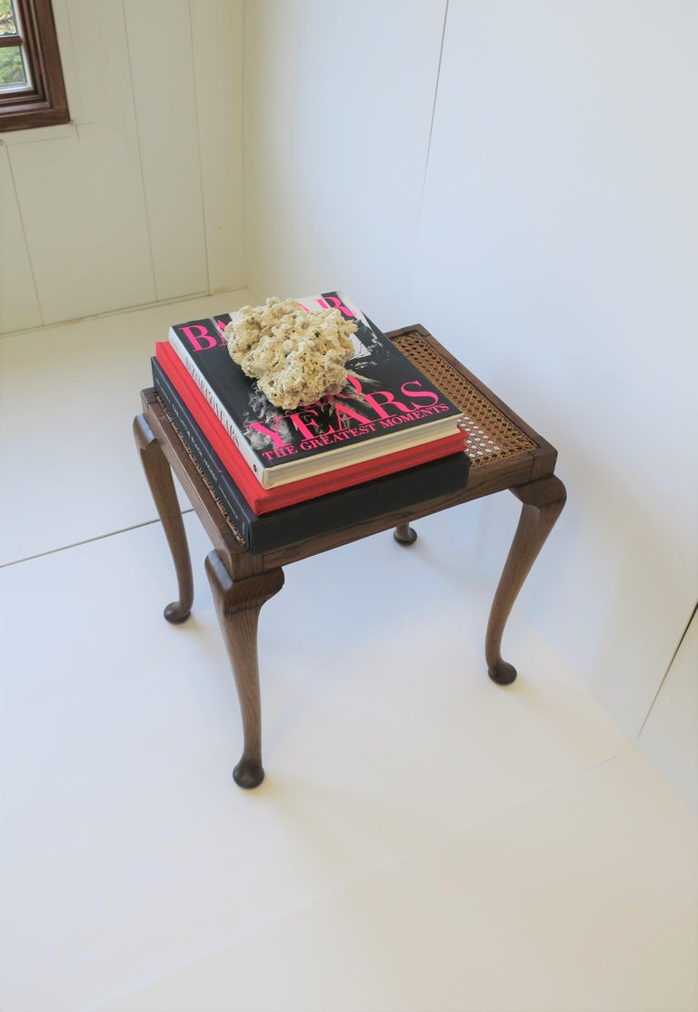 Wicker Cane and Wood Side or End Table For Sale 10