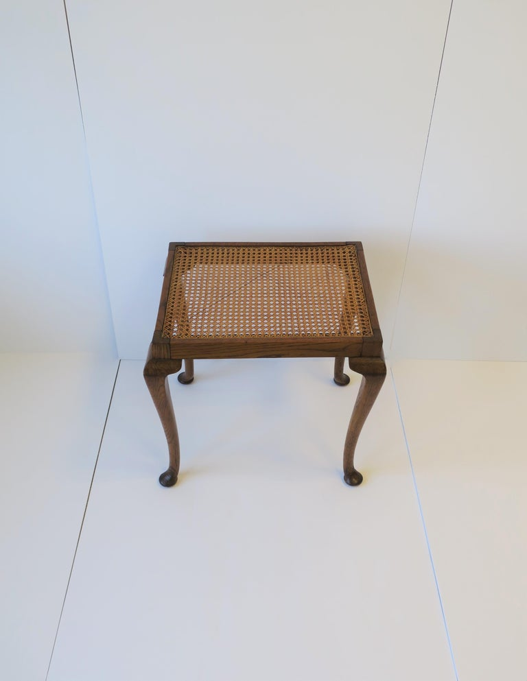 Queen Anne Wicker Cane and Wood Side or End Table For Sale