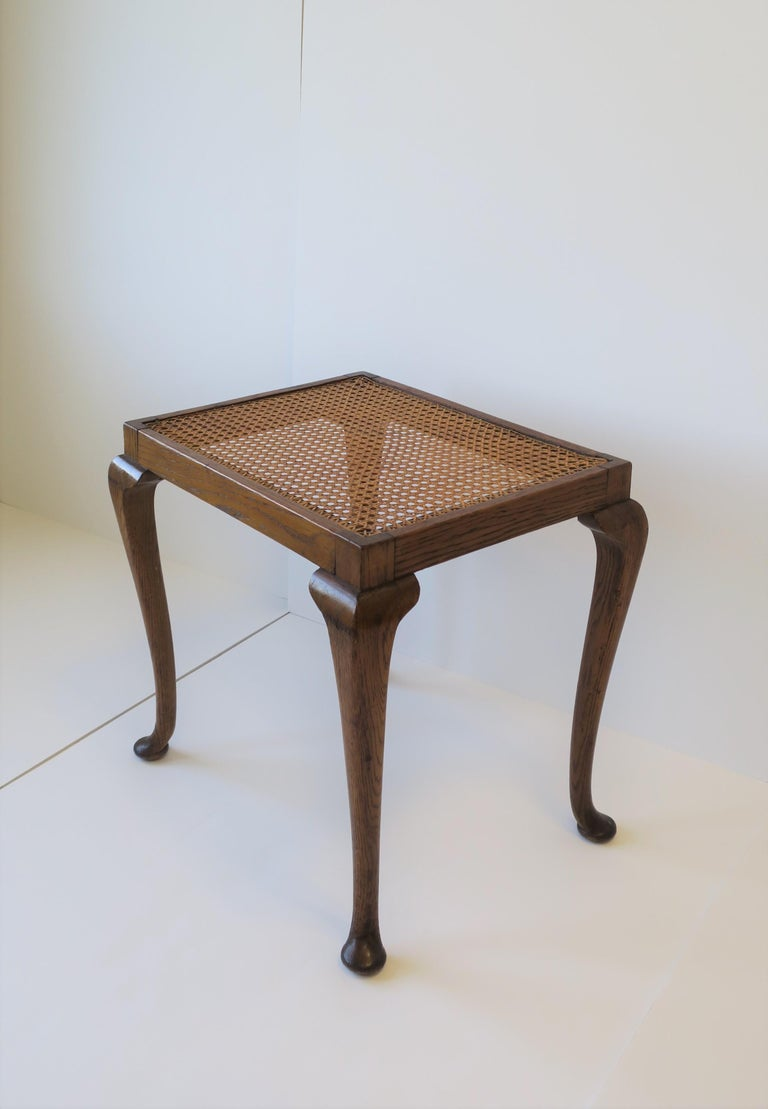 20th Century Wicker Cane and Wood Side or End Table For Sale