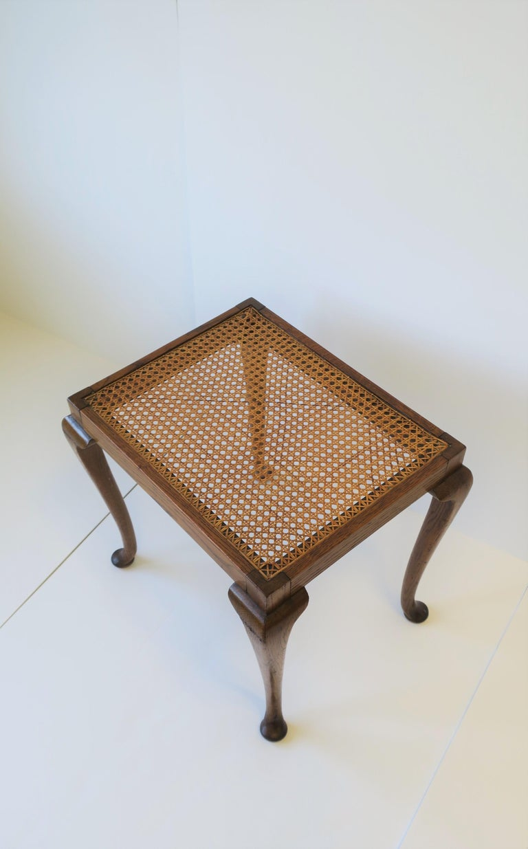 Wicker Cane and Wood Side or End Table For Sale 1
